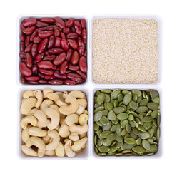 red bean,white sesame,Pumpkin seeds,Cashew nuts in white square