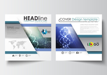 Business templates for square design brochure, magazine, flyer, booklet. Leaflet cover, flat layout, easy editable. DNA molecule structure, science background. Scientific research, medical technology.