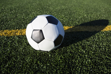 Low Angle View of Soccer Ball on the field