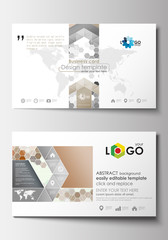 Business card templates. Cover design template, easy editable blank, flat layout. Abstract gray color  background, modern stylish hexagonal vector texture.