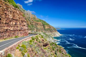 Chapman's Peak Drive near Cape Town on Cape Peninsula - Western Cape, South Africa. Chapman's Peak Drive is a 9 kilometer long coastal road from Hout Bay to Noordhoek, passing Chapman's Peak mountain.
