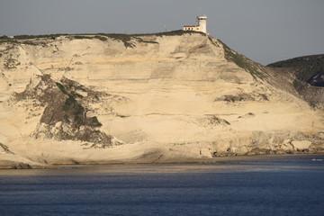 Sunset, Lighthouse On Cliff At Bonifacio. Corsica, france