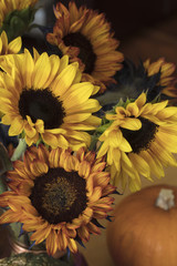 Orange and Yellow Bouquet of Sunflowers