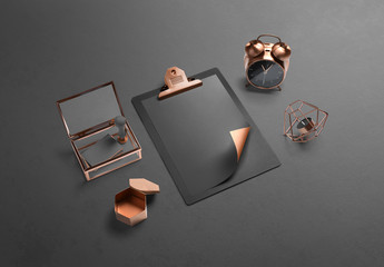 Black and Copper Stationery Mockup 2