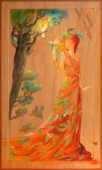 Ladies' novel. Oil painting on wood.