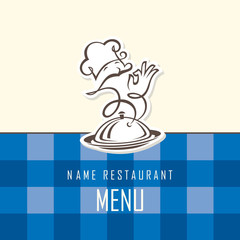 chef menu design on blue background