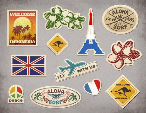 Vector retro travel luggage stickers set on grunge background