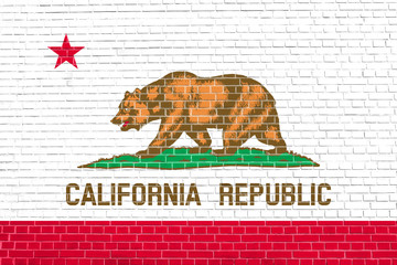 Flag of California, brick wall texture background