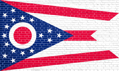 Flag of Ohio on brick wall texture background