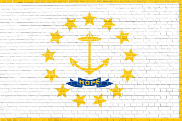 Flag of Rhode Island brick wall texture background