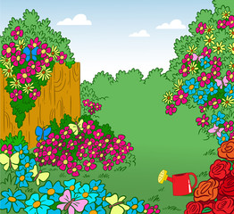 The illustration shows the cartoon garden with lots of different flowers.