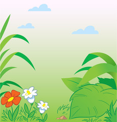 Green background with leaves and flowers in a cartoon style, on separate layers.
