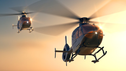 Helicopters Sunset Flight Wall mural