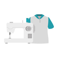 sewing machine with man t shirt icon. vector illustration
