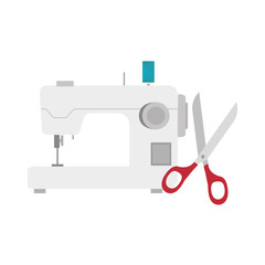 sewing machine with scissors tool icon. vector illustration