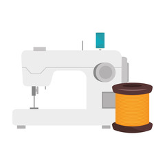 sewing machine with spool of yellow thread icon. vector illustration