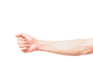 Man arm with blood veins on white background, health care concep Wall mural