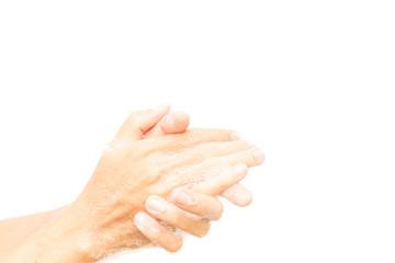 Closeup man's hand washing, Cleaning hands on white background