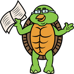 Turtle with Book Cartoon