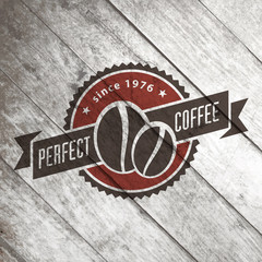 Vintage retro coffee vector logo on the old wood texture