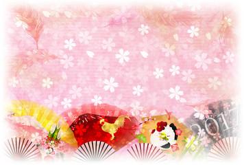 酉 鶏 桜 年賀状