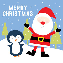 santa and penguin cute christmas design