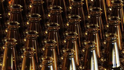 Glass bottles of beer on dark background. 3d illustration.