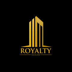properties abstract gold luxury building logo icon vector template