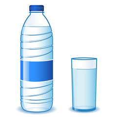 bottle and water glass