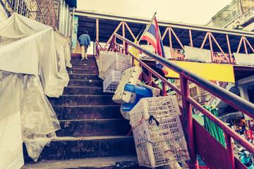 vintage tone image of dirty stairway.