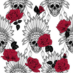 Skull with indian feather hat and red roses. Vector seamless pattern