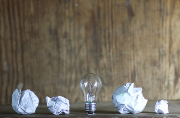 lamp and crumpled paper