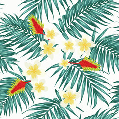 Tropical seamless pattern with palm leaves and exotic flowers. Pale blue green on white background.