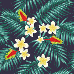 Tropical seamless pattern with palm leaves and exotic flowers. Pale green on dark blue background.