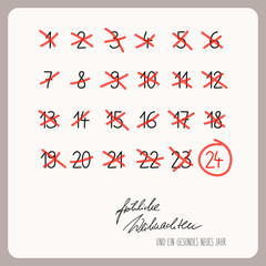 christmas calendar - template for christmas design with german text