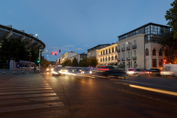 Night streets, buildings, roads, Tbilisi