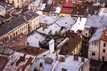 Top view on colorful roofs and houses of old European city of Lvov in Ukraine
