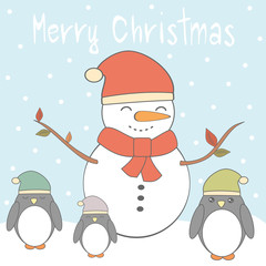 merry christmas vector card with cute cartoon colorful penguins and snowman