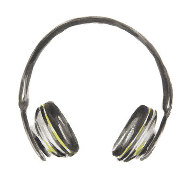Isolated watercolor headphones on white background. Studio audio stereo. New technology. Wireless sound.