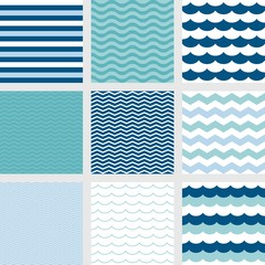 stripe, navy blue wave, zig zag pattern, fish scale pattern and wave pattern, navy color nautical theme seamless pattern background