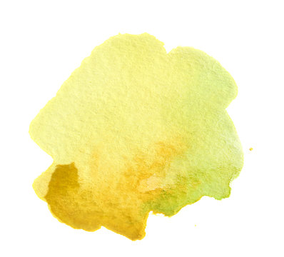 Watercolor yellow paint. Colorful paint illustration for decoration.