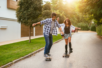 Showing their long board skills