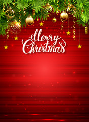 red glimmered Christmas background with evening baubles and green fir tree