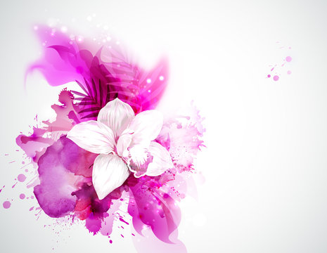light blooming orchid and palm leaves on the pink abstract background