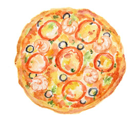 Isolated watercolor pizza on white background. Tasty italian snack or street food. Italian cuisine.