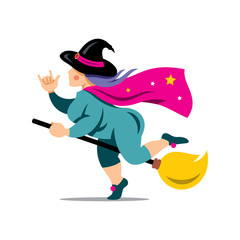 Vector Halloween Witch on a broomstick Cartoon Illustration.