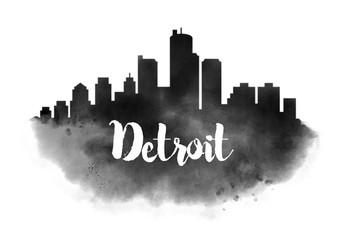 Watercolor Detroit City Skyline