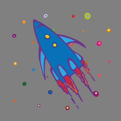 Children style drawing of flying rocket. Spaceship or rocket in open space. Vector Illustration