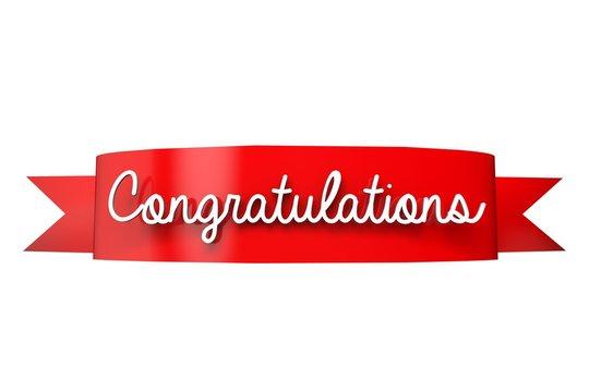 Congratulations red ribbon banner