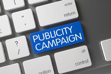 Blue Publicity Campaign Keypad on Keyboard. 3D.